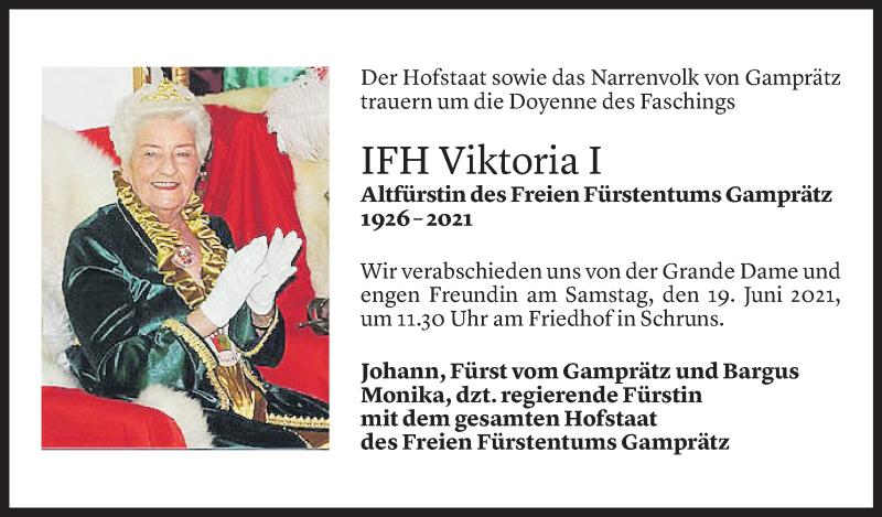 Todesanzeige für Viktoria Serbée vom 19.06.2021 aus Vorarlberger Nachrichten