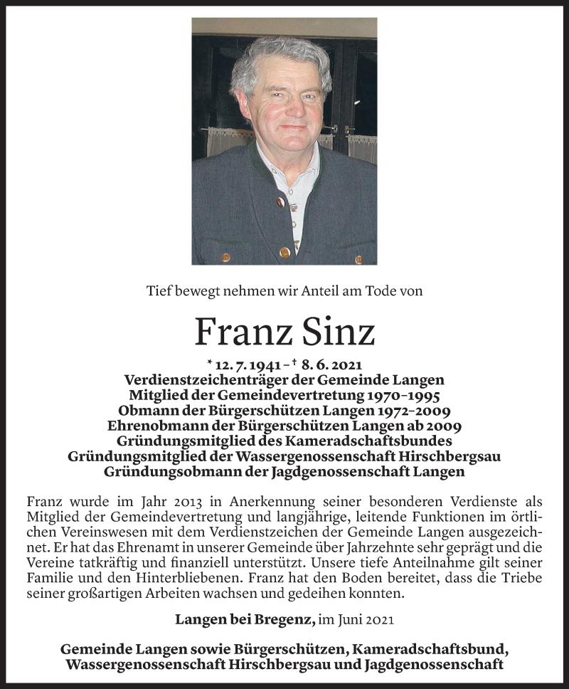 Todesanzeige für Franz Sinz vom 08.06.2021 aus Vorarlberger Nachrichten