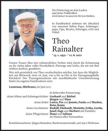 Todesanzeige von Theo Rainalter von Vorarlberger Nachrichten