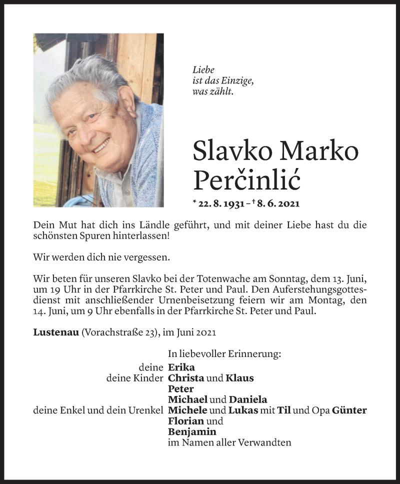 Todesanzeige für Slavko Marko Percinlic vom 10.06.2021 aus Vorarlberger Nachrichten