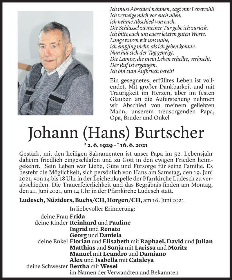 Todesanzeige für Johann Burtscher vom 18.06.2021 aus Vorarlberger Nachrichten