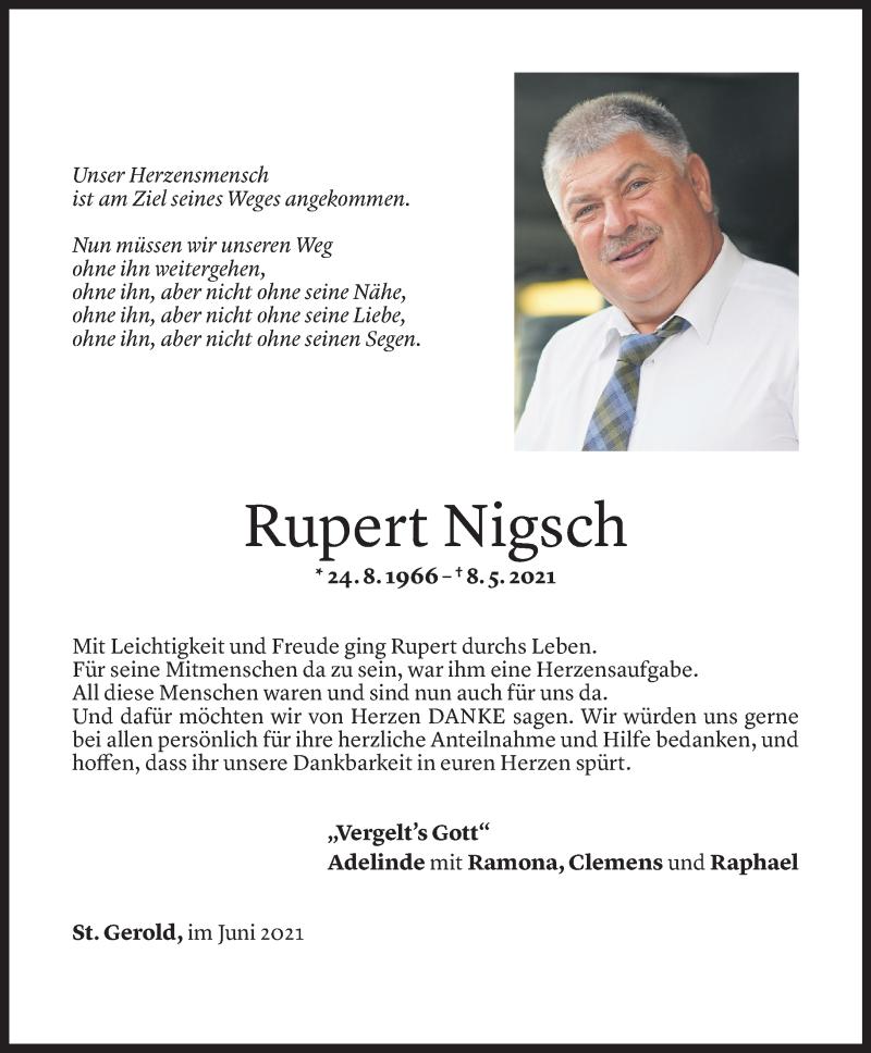 Todesanzeige für Rupert Nigsch vom 18.06.2021 aus Vorarlberger Nachrichten