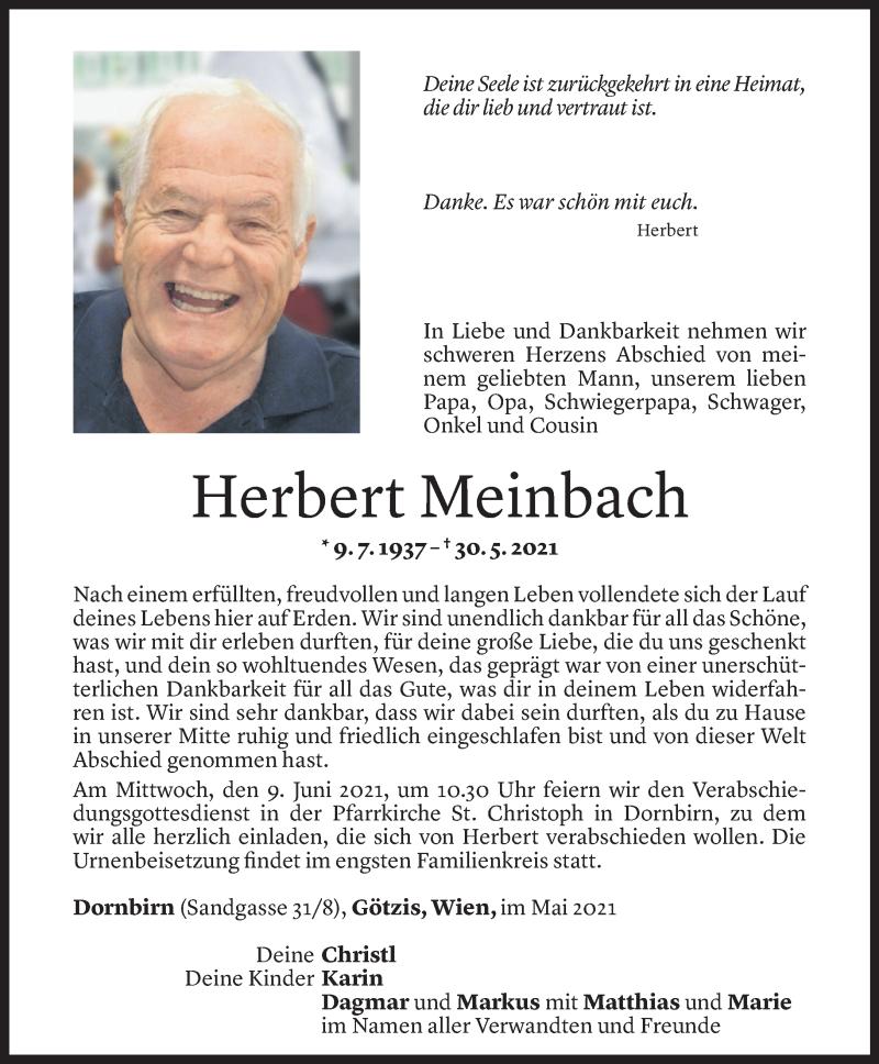 Todesanzeige für Herbert Meinbach vom 04.06.2021 aus Vorarlberger Nachrichten