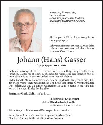 Todesanzeige von Johann Gasser von Vorarlberger Nachrichten