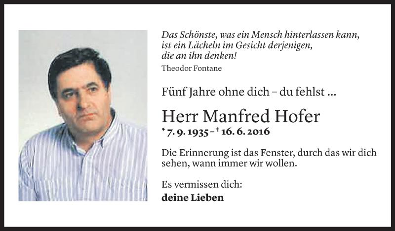 Todesanzeige für Manfred Hofer vom 16.06.2021 aus Vorarlberger Nachrichten