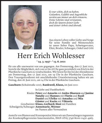 Todesanzeige von Erich Wohlesser von Vorarlberger Nachrichten