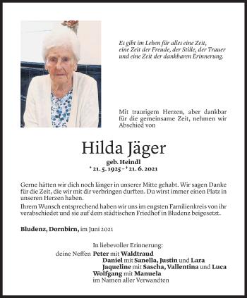 Todesanzeige von Hilda Jäger von Vorarlberger Nachrichten