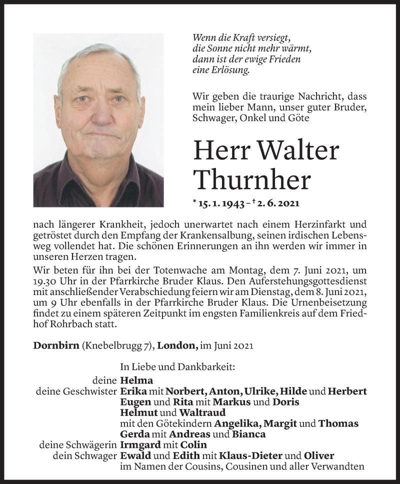 Todesanzeige für Walter Thurnher vom 04.06.2021 aus Vorarlberger Nachrichten