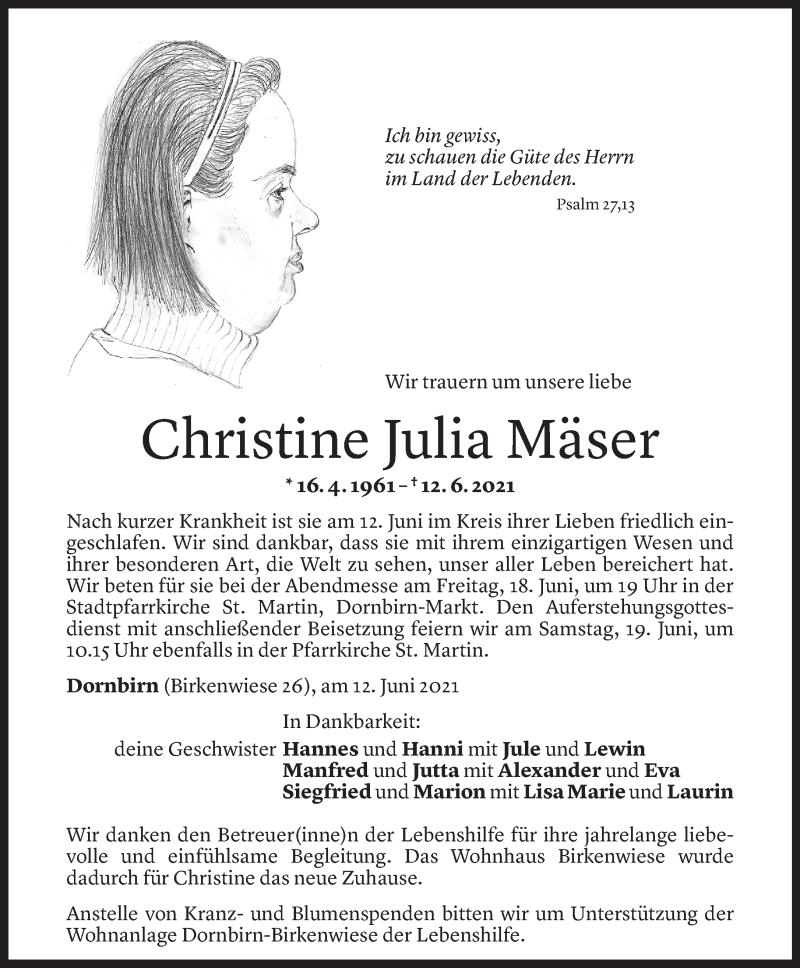 Todesanzeige für Christine Julia Mäser vom 15.06.2021 aus Vorarlberger Nachrichten