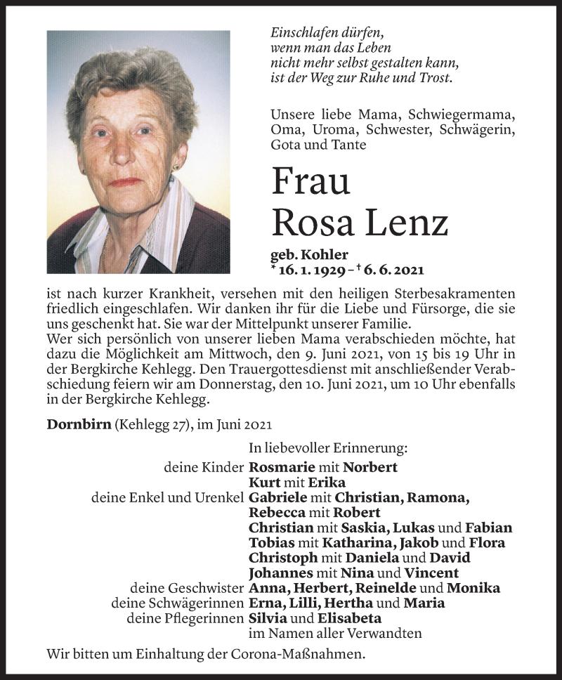 Todesanzeige für Rosa Lenz vom 07.06.2021 aus Vorarlberger Nachrichten