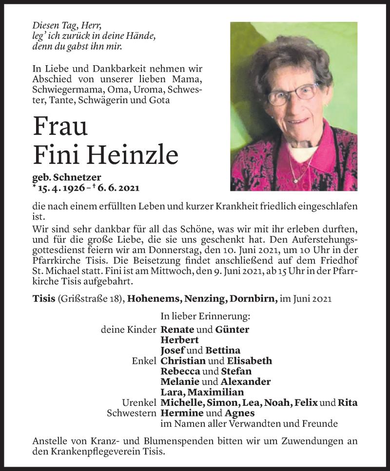 Todesanzeige für Fini Heinzle vom 07.06.2021 aus Vorarlberger Nachrichten