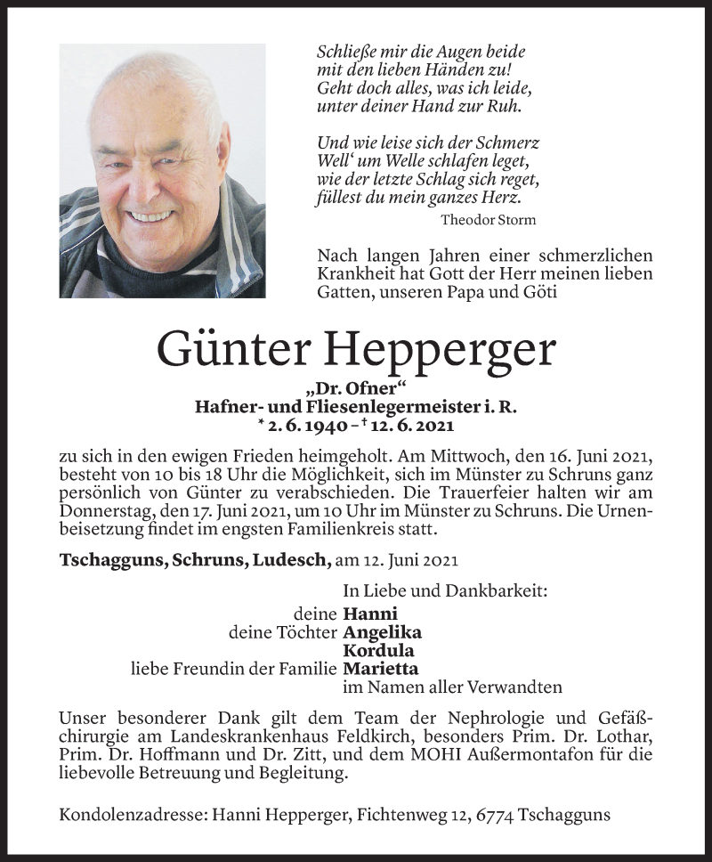 Todesanzeige für Günter Hepperger vom 15.06.2021 aus Vorarlberger Nachrichten