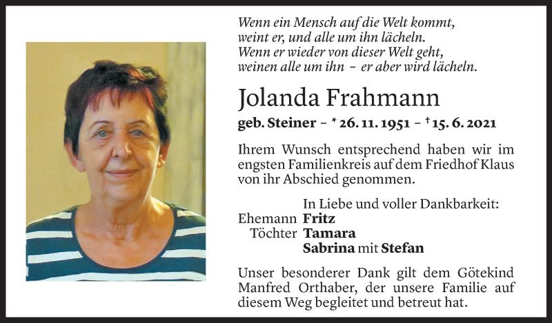Todesanzeige für Jolanda Frahmann vom 18.06.2021 aus Vorarlberger Nachrichten