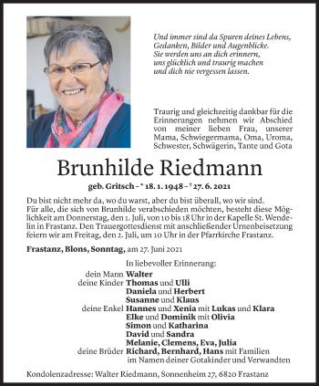 Todesanzeige von Brunhilde Riedmann von Vorarlberger Nachrichten