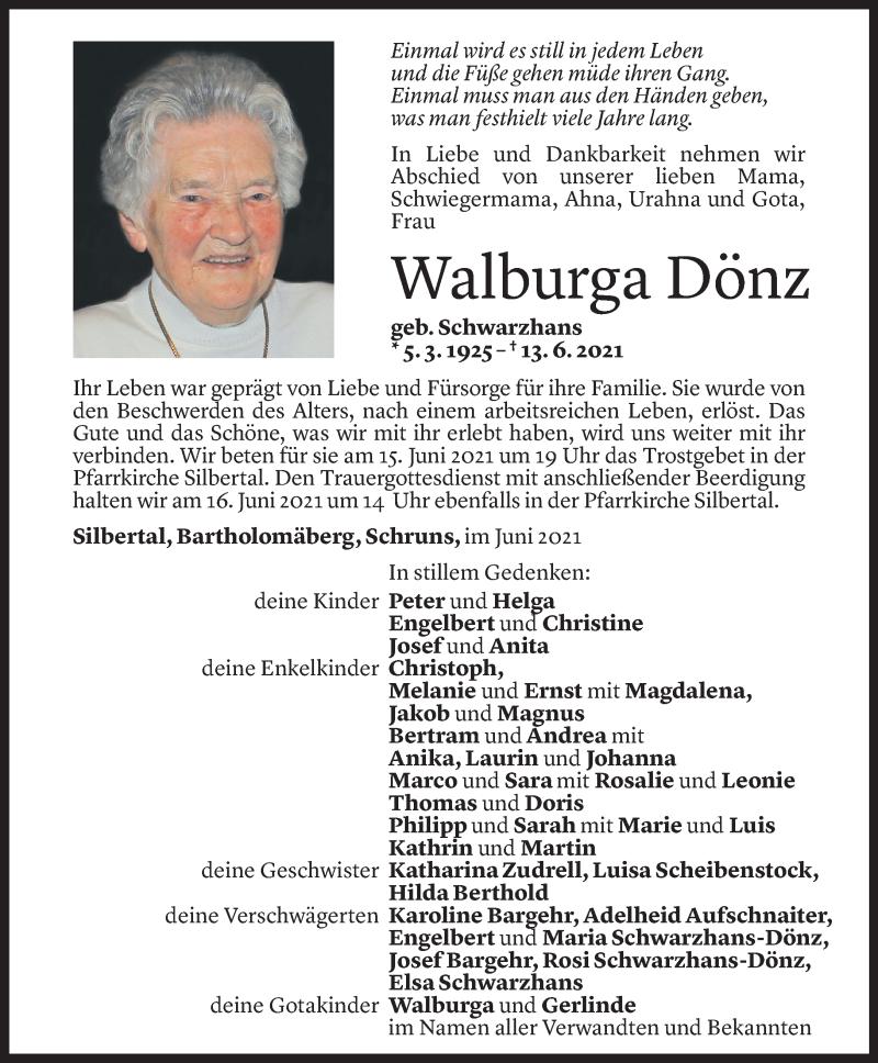 Todesanzeige für Walburga Dönz vom 14.06.2021 aus Vorarlberger Nachrichten