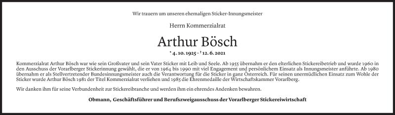 Todesanzeige für Arthur Bösch vom 20.06.2021 aus vorarlberger nachrichten