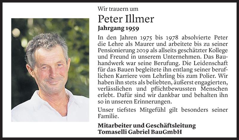 Todesanzeige für Peter Illmer vom 07.05.2021 aus Vorarlberger Nachrichten