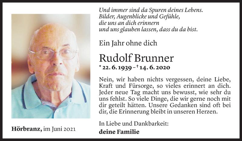 Todesanzeige für Rudolf Brunner vom 13.06.2021 aus Vorarlberger Nachrichten