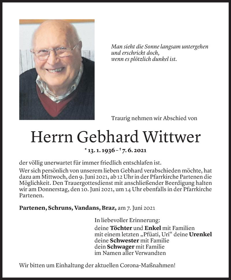 Todesanzeige für Gebhard Wittwer vom 07.06.2021 aus Vorarlberger Nachrichten