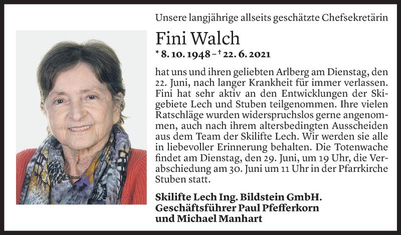 Todesanzeige für Josefine Walch vom 26.06.2021 aus Vorarlberger Nachrichten