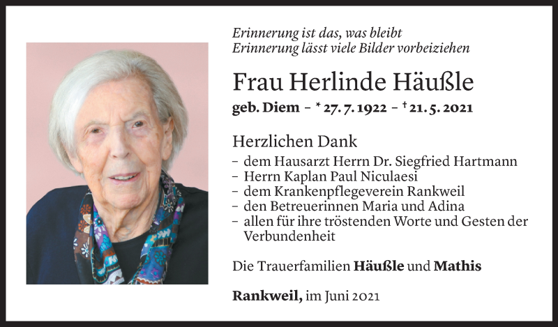 Todesanzeige für Herlinde Häußle vom 11.06.2021 aus Vorarlberger Nachrichten