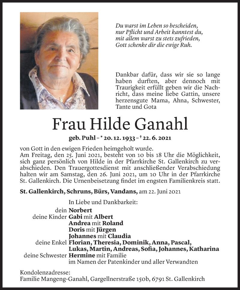 Todesanzeige für Hilde Ganahl vom 23.06.2021 aus Vorarlberger Nachrichten