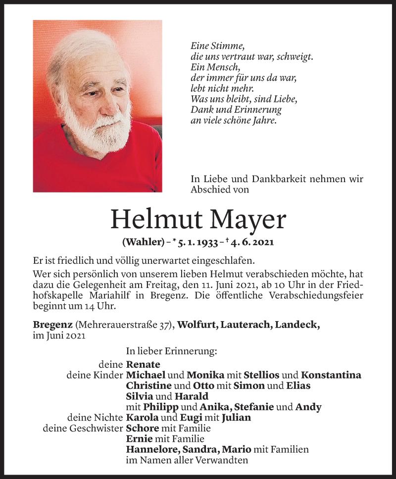 Todesanzeige für Helmut Mayer vom 08.06.2021 aus Vorarlberger Nachrichten