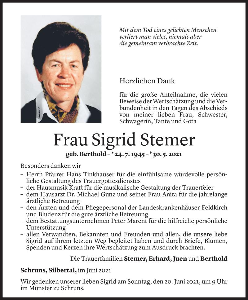 Todesanzeige für Sigrid Stemer vom 16.06.2021 aus Vorarlberger Nachrichten