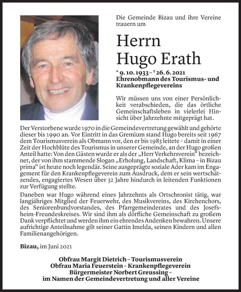Todesanzeige für Hugo Erath vom 27.06.2021 aus Vorarlberger Nachrichten