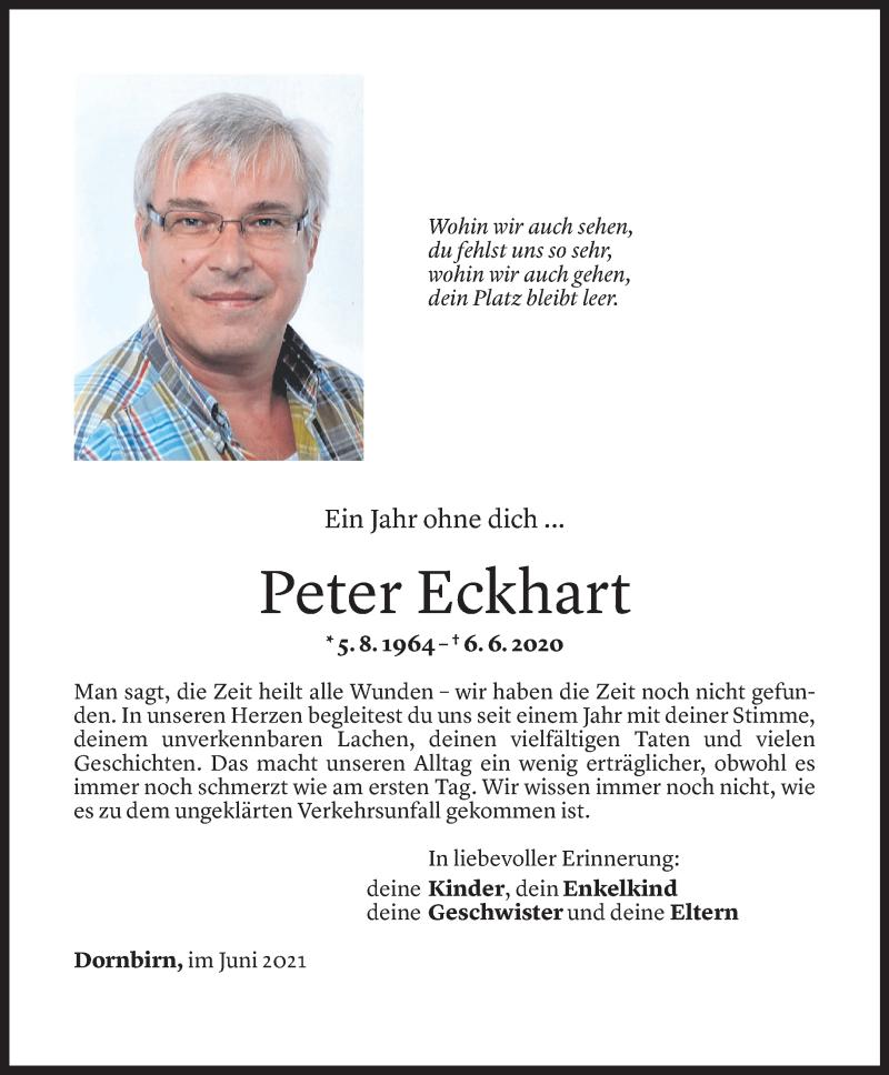 Todesanzeige für Peter Eckhart vom 04.06.2021 aus Vorarlberger Nachrichten