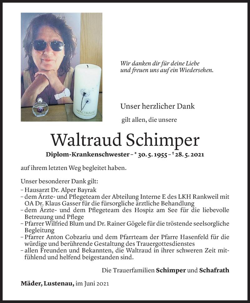 Todesanzeige für Waltraud Schimper vom 10.06.2021 aus Vorarlberger Nachrichten