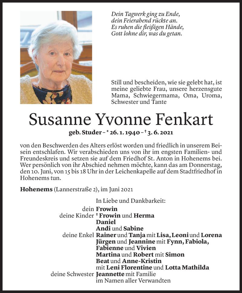 Todesanzeige für Susanne Yvonne Fenkart vom 07.06.2021 aus Vorarlberger Nachrichten