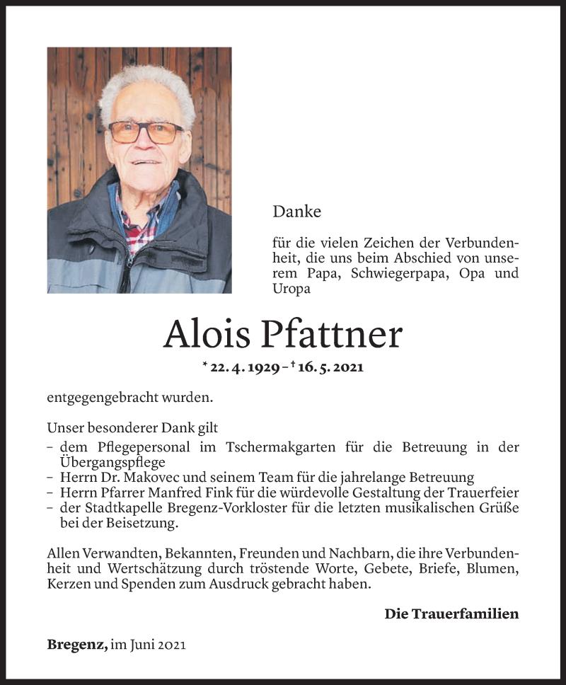 Todesanzeige für Alois Pfattner vom 11.06.2021 aus Vorarlberger Nachrichten