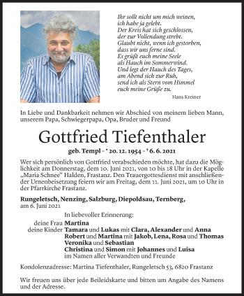 Todesanzeige von Gottfried Tiefenthaler von Vorarlberger Nachrichten
