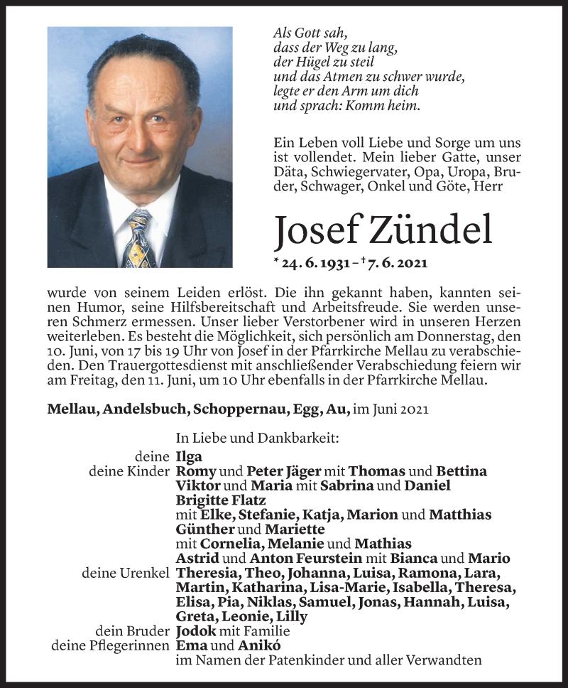 Todesanzeige für Josef Zündel vom 07.06.2021 aus Vorarlberger Nachrichten