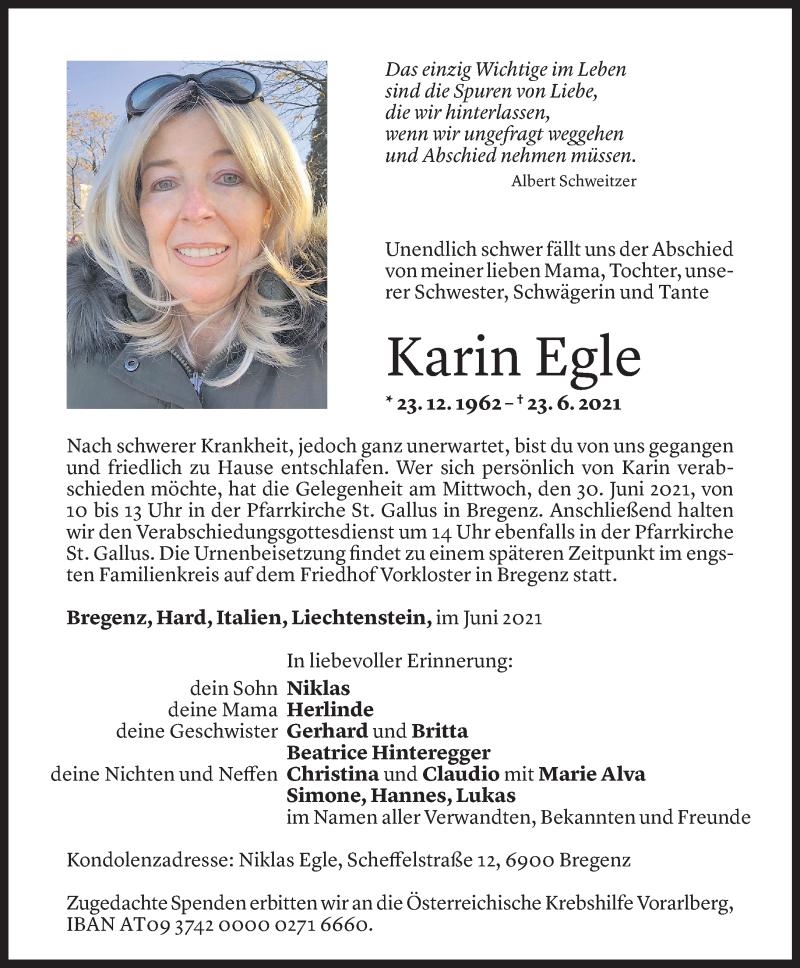 Todesanzeige für Karin Egle vom 27.06.2021 aus Vorarlberger Nachrichten
