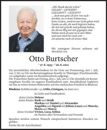 Todesanzeige von Otto Burtscher von Vorarlberger Nachrichten