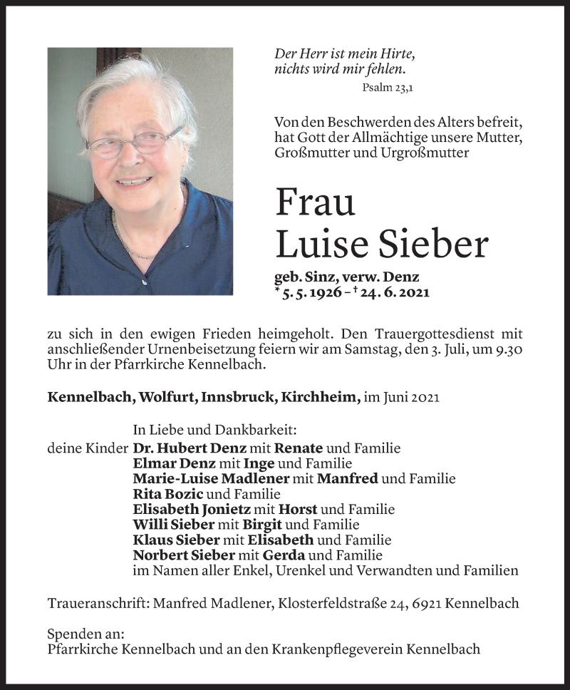 Todesanzeige für Luise Sieber vom 29.06.2021 aus Vorarlberger Nachrichten