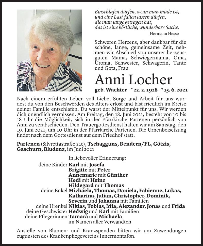 Todesanzeige für Anni Locher vom 16.06.2021 aus Vorarlberger Nachrichten