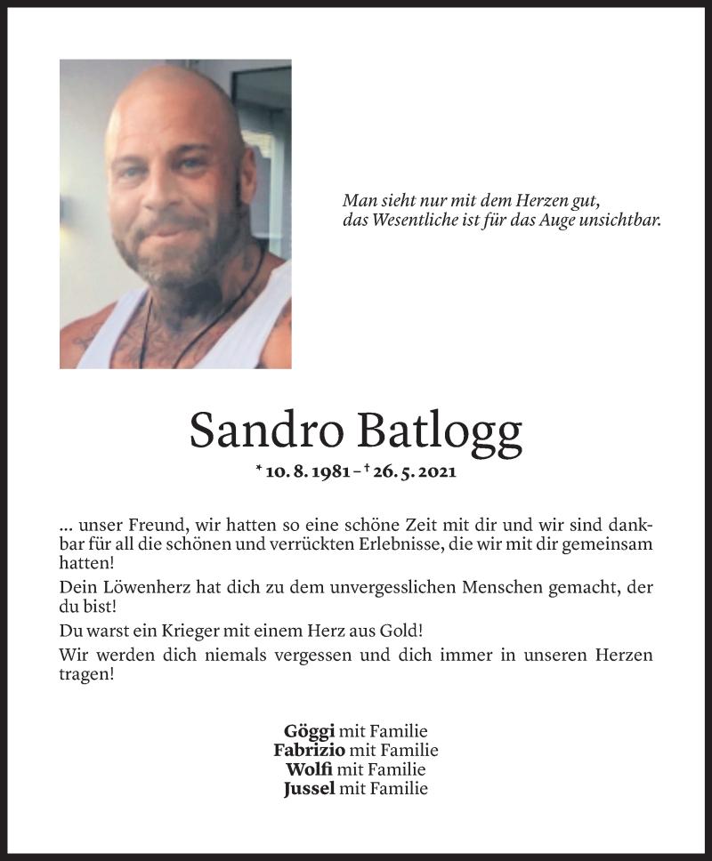 Todesanzeige für Sandro Batlogg vom 07.06.2021 aus Vorarlberger Nachrichten