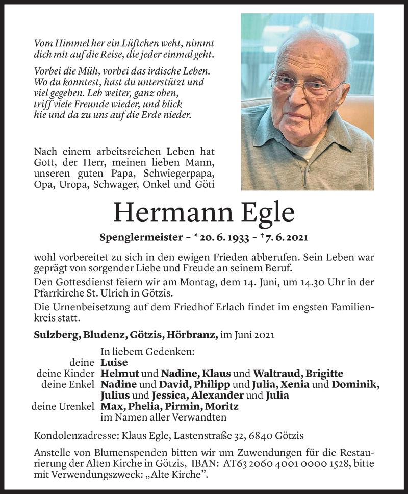Todesanzeige für Hermann Egle vom 11.06.2021 aus Vorarlberger Nachrichten
