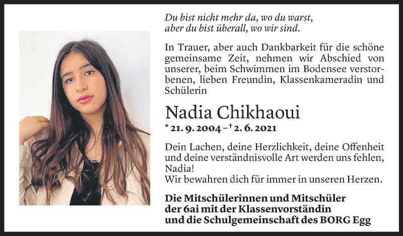 Todesanzeige für Nadia Chikhaoui vom 07.06.2021 aus Vorarlberger Nachrichten