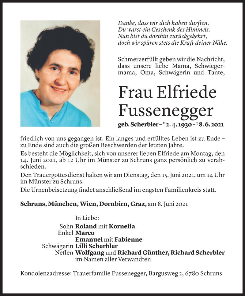 Todesanzeige für Elfriede Fussenegger vom 11.06.2021 aus Vorarlberger Nachrichten