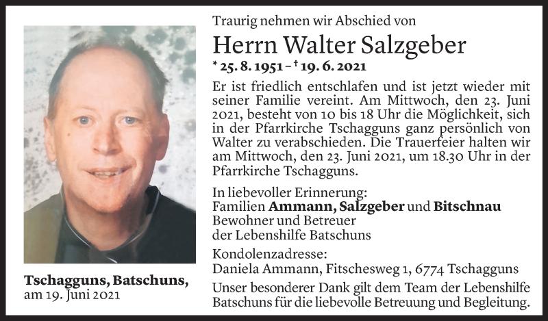 Todesanzeige für Walter Salzgeber vom 21.06.2021 aus Vorarlberger Nachrichten