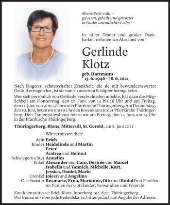 Todesanzeige von Gerlinde Klotz von Vorarlberger Nachrichten