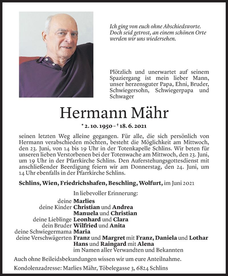 Todesanzeige für Hermann Mähr vom 21.06.2021 aus Vorarlberger Nachrichten