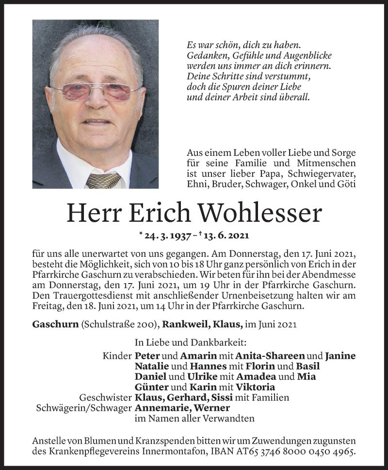 Todesanzeige für Erich Wohlesser vom 15.06.2021 aus Vorarlberger Nachrichten
