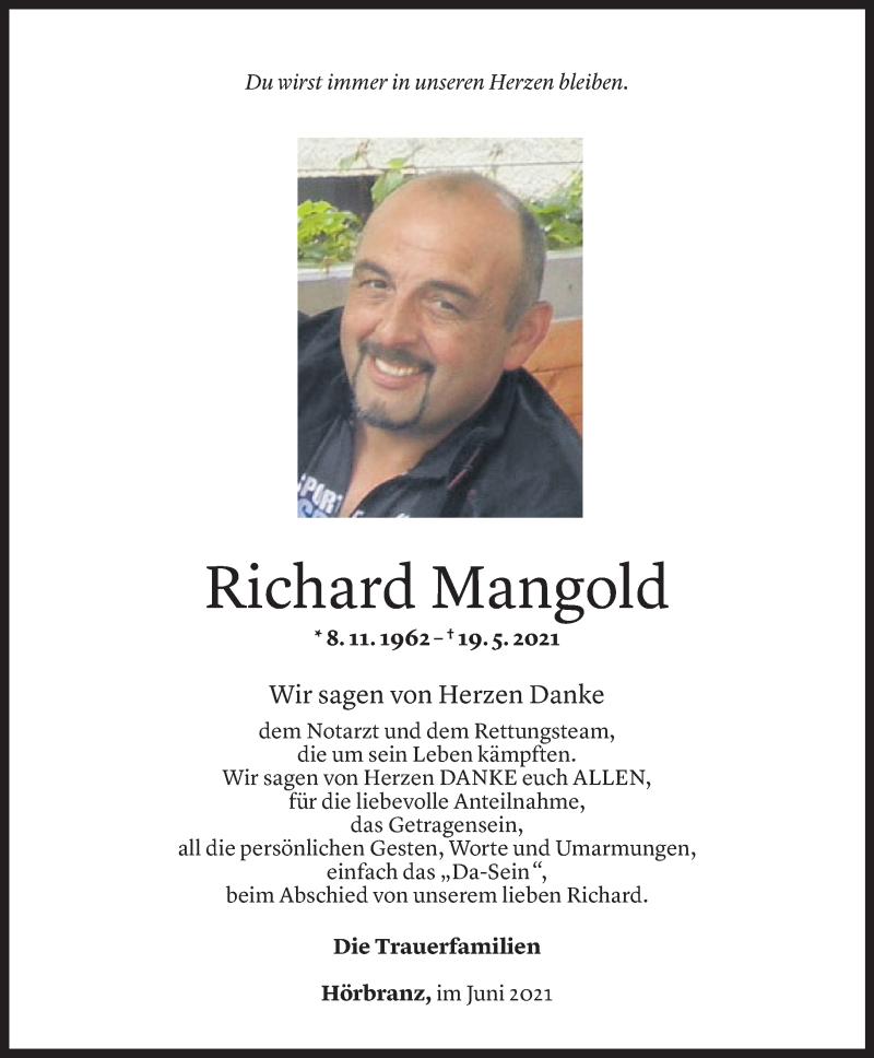 Todesanzeige für Richard Mangold vom 19.06.2021 aus Vorarlberger Nachrichten