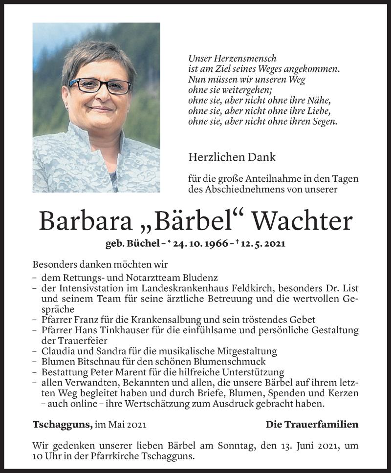 Todesanzeige für Barbara Wachter vom 10.06.2021 aus Vorarlberger Nachrichten