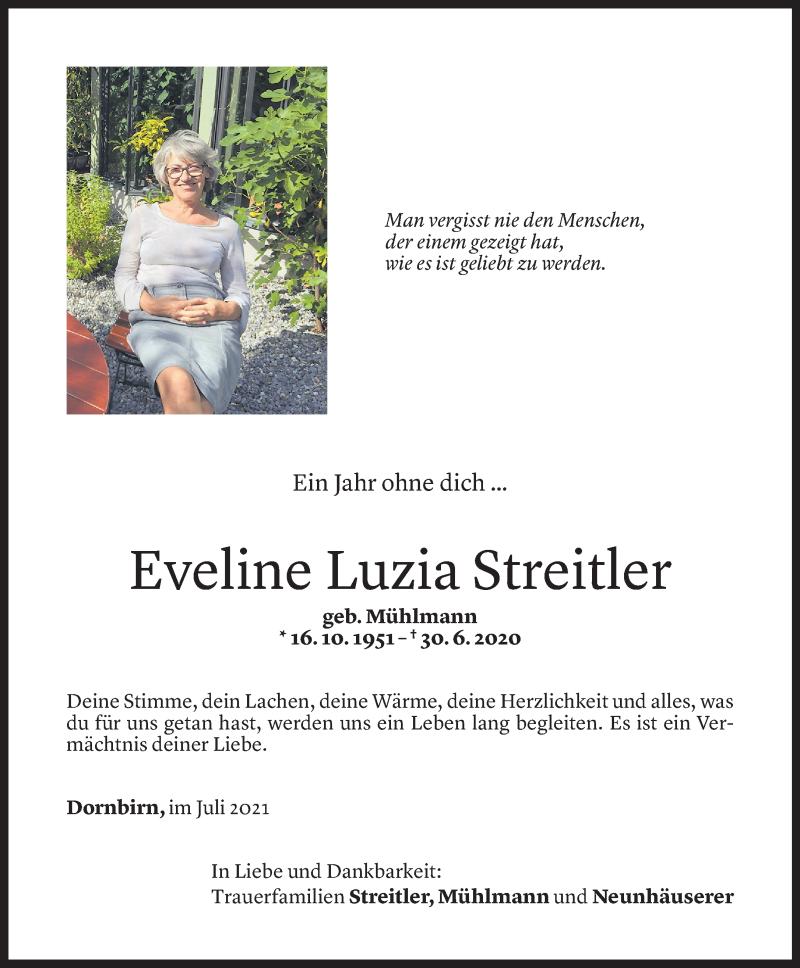 Todesanzeige für Eveline Luzia Streitler vom 29.06.2021 aus Vorarlberger Nachrichten